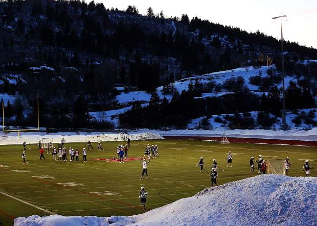Aspen High School boys lacrosse practice on Tuesday, Feb. 26, 2019, on the AHS turf.