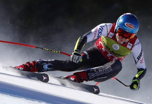 United States' Mikaela Shiffrin competes during the women's super G race at the alpine ski World Cup finals, in Soldeu, Andorra, Thursday, March 14, 2019. (AP Photo/Gabriele Facciotti)