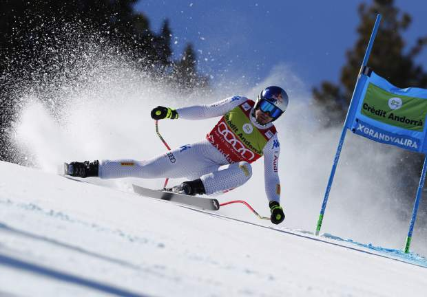 Italy's Dominik Paris competes during the men's super G race at the alpine ski World Cup finals, in Soldeu, Andorra, Thursday, March 14, 2019. (AP Photo/Gabriele Facciotti)
