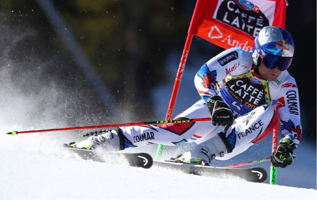 France's Alexis Pinturault speeds down the course during an alpine ski, men's giant slalom, at the alpine ski, World Cup finals in Soldeu, Andorra, Saturday, March 16, 2019. (AP Photo/Alessandro Trovati)