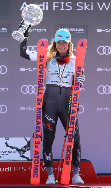 Mikaela Shiffrin holds the women's World Cup overall trophy at the alpine ski finals in Soldeu, Andorra earlier this month.