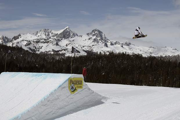 Chris Corning of Silverthorne executes a trick off of a slopestyle jump during qualifiers earlier this week at the Toyota U.S. Grand Prix at Mammoth Mountain Resort in California. Corning finished in fifth place at Saturday's finals.