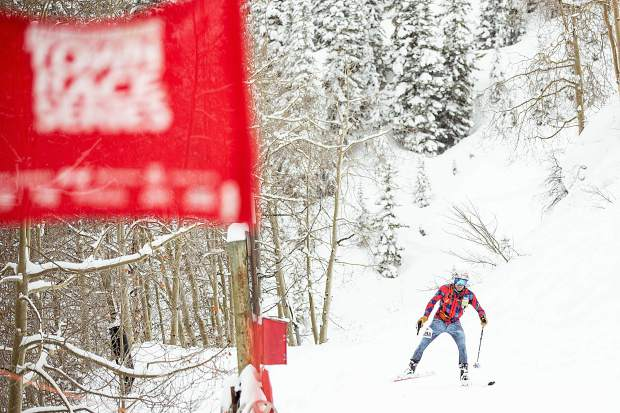 Frisco resident Hugh Carey skate skis uphill to keep up with race partner Sam O'Keefe, not pictured, during the last descent of the race on Aspen Mountain as part of the Audi Power of Four ski mountaineering race on March 2, near Aspen.
