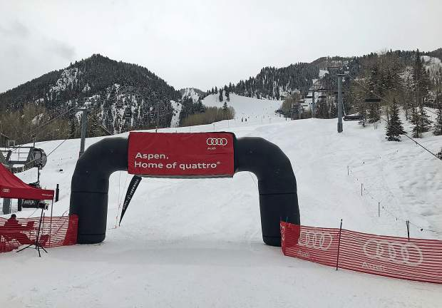 The finish line is in view at the Silver Queen Gondola Plaza at Aspen Mountain during the Audi Power of Four ski mountaineering race on March 2, near Aspen.