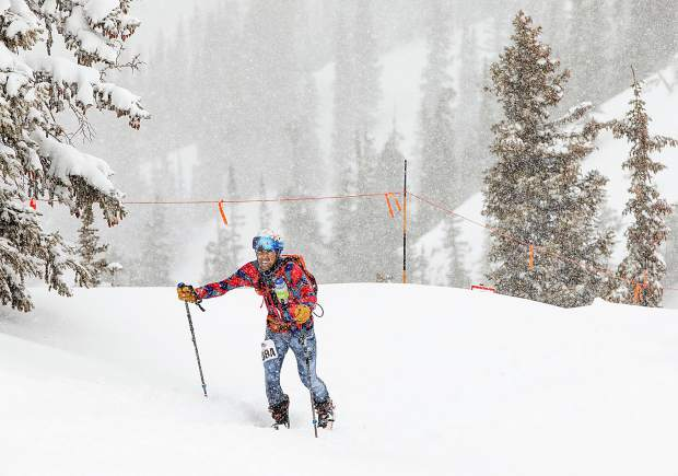 Frisco resident Hugh Carey ascends to the top of Aspen Highlands during the Audi Power of Four ski mountaineering race on March 2, near Aspen.