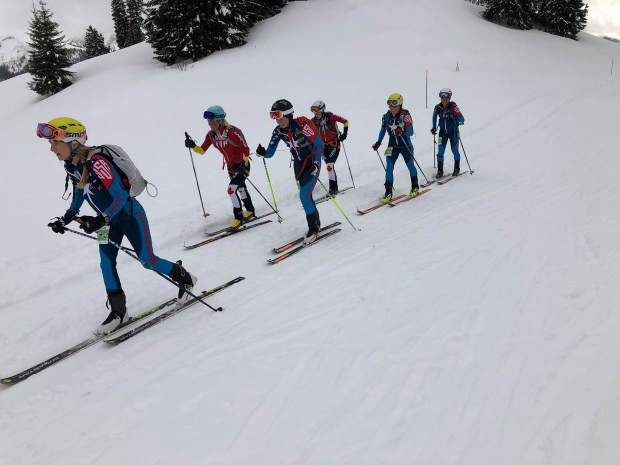 Members of Team USA ascend uphill during the International Ski Mountaineering Federation World Championships earlier this month in Switzerland.