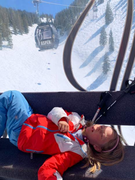 Brooklyn Kennedy Lewis, 7 years old and a first-grader at Aspen Elementary School, took a siesta on her afternoon gondola ride Wednesday.
