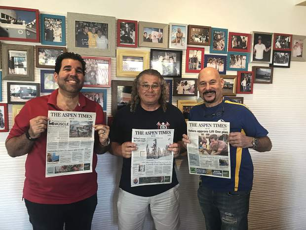 Gathered at iconic Miami Beach restaurant, David's Cafe Cafecito on Alton Road, with three different Aspen Times' editions, are from left, cafe owner Adrian Gonzalez, longtime Miami Beach resident Gerald Goldstein (center), and Miami Beach native and longtime Aspen-area resident Bennett Bramson. Email your