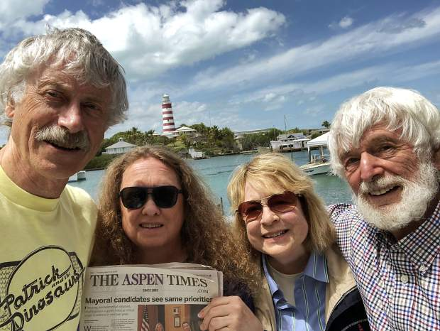 From left to right, readers Roger and Kris Wilson, Camilla and Raymond Auger, display The Aspen Times during their recent adventures on Elbow Cay, Bahamas.