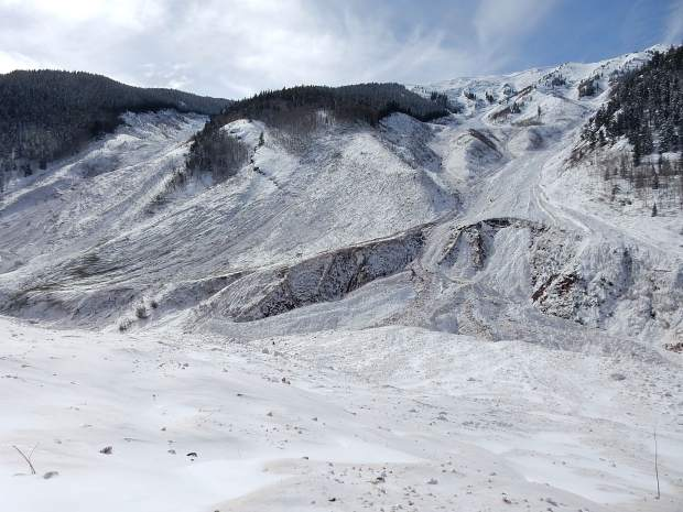 A massive avalanche roared down the K Chutes to the left and Five Fingers, depositing tons of snow and debris in Conundrum Creek Valley.