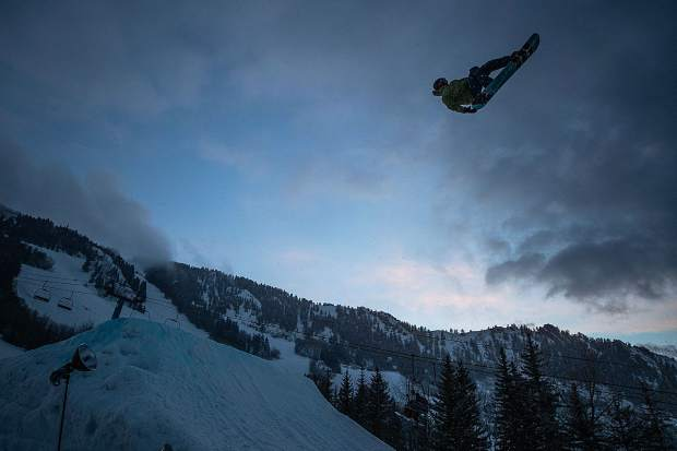 Shane Serrano during a practice lap before the KickAspen Big Air competition at the base of Ajax on Friday evening.