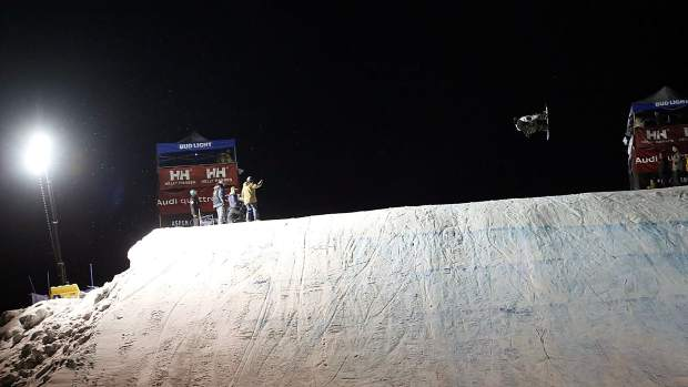 Mark Hoyt competes in the KickAspen Big Air contest on Friday, March 22, 2019, at the base of Aspen Mountain. (Photo by Austin Colbert/The Aspen Times).