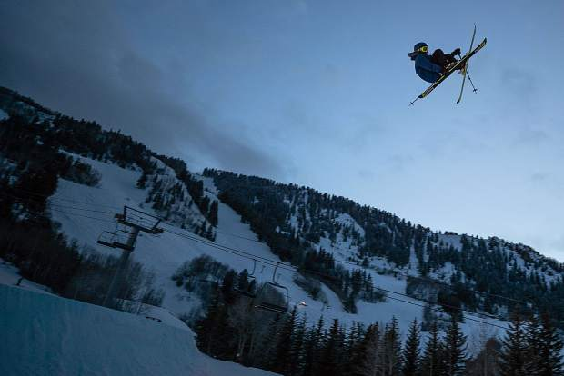 Tristan Feinberg hits the big air jump during practice for the KickAspen Big Air competition on Friday night.