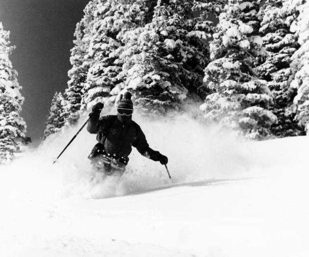 Mac Smith skiing powder in Steeplechase on Aspen Highlands in 1974. He was a member of the ski patrol at the time. In 1978-79 he was promoted to ski patrol director.