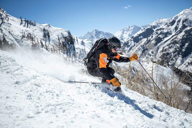 Aspen Highlands Ski Patrol Director Mac Smith skis down Snag Tree on March 16, 2019.