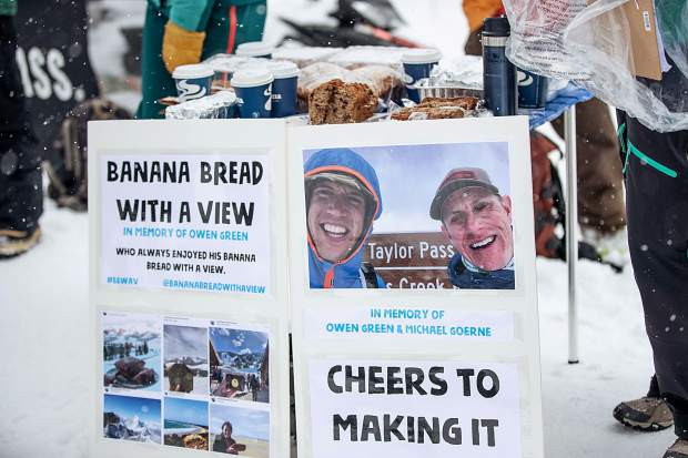 The Snowmass Tourism team put the station together to honor their coworker, Owen Green, and also his race partner Michael Goerne that passed away earlier this season training for this race. Green always enjoyed his banana bread with a view according to his coworkers.