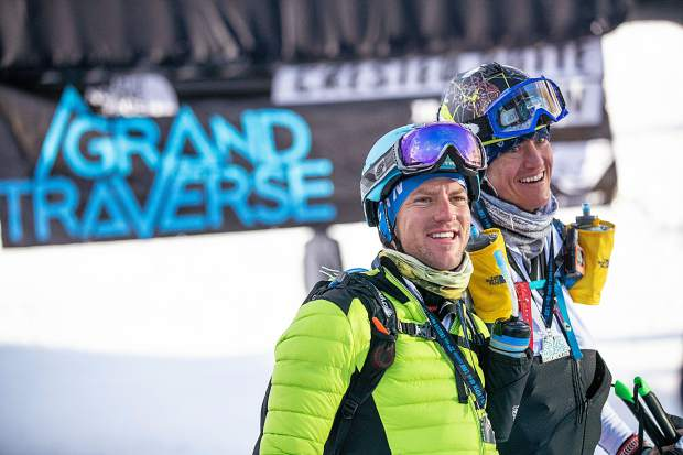 Roaring Fork Valley locals Tyler Newton, right, and his race partner Scott Archer, finished the Grand Traverse race in fourth Saturday morning in Aspen.