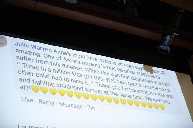 A text from Anna Cunningham's mother, Julie, Wednesday morning during a shaving head fundraiser at Basalt High School for her daughter who's battling ewing sarcoma.