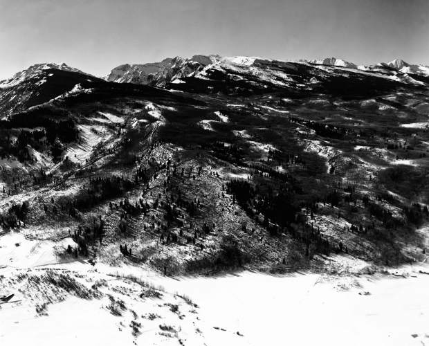 This photograph shows Buttermilk Mountain before the ski area was built in the 1950s.