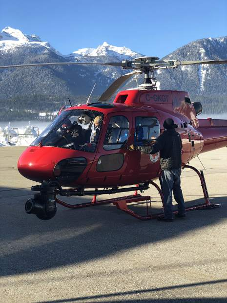 Director Mateo Willits about to take off with the Cineflex camera in Revelstoke, B.C. to capture avalanches for National Geographic's