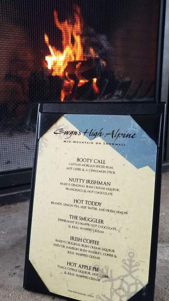 The warm-drink menu at Gwyn's High Alpine mid-mountain at Snowmass has a bit of everything to get rid of the chill.