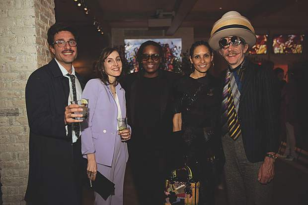 Gedi Sibony, Katherine Gaydos, Mickalene Thomas, Racquel Chevremont and Martin Creed. MarySue Bonetti photo.
