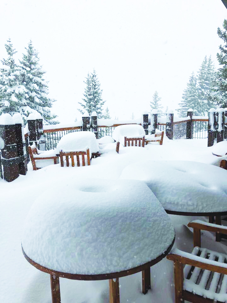 Outdoor seating at the Sundeck after days of dumping fresh snow. Blaire Kribs photo.