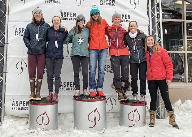 The 2019 Audi Power of Four ski mountaineering race women's podium on Saturday, March 2, 2019, in Aspen. (Photo by Austin Colbert/The Aspen Times).