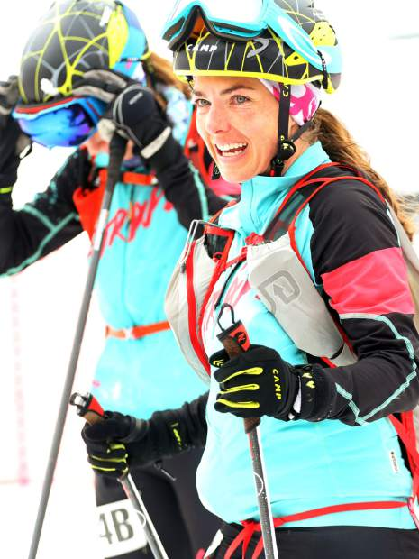 Jessie Young smiles after completing the 2019 Audi Power of Four ski mountaineering race on Saturday, March 2, 2019, in Aspen. (Photo by Austin Colbert/The Aspen Times).