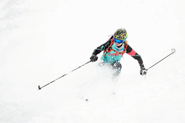 Nikki LaRochelle skis down Walsh's on Aspen Mountain for the ski mountaineering race the Power of Four on Saturday. LaRochelle and her teammate, Jessie Young, were the first female team to finish the race on Saturday.