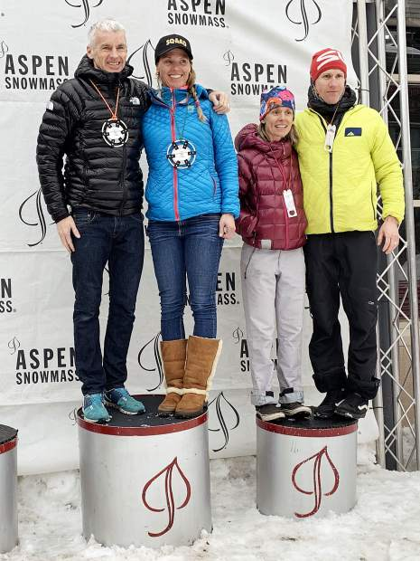 The 2019 Audi Power of Four ski mountaineering race co-ed podium on Saturday, March 2, 2019, in Aspen. (Photo by Austin Colbert/The Aspen Times).