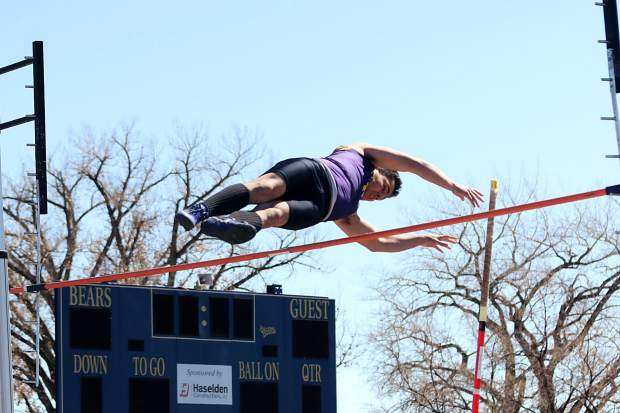 Basalt's Nathan Rivera competes in the pole vault on Friday, March 15, 2019, at a track and field meet hosted by Rifle.
