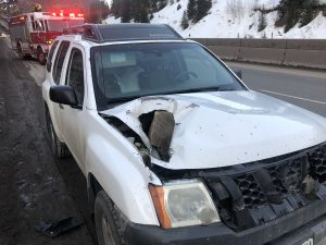 I-70 reopens near Vail after rock goes through SUV's hood; no injuries reported