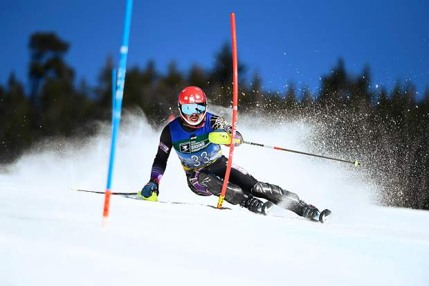 Aspen's Ben Throm, of Saint Michael's College, competes during the men's slalom race during at the NCAA skiing championships, held at the Trapp Family Lodge on March 9, 2019, in Stowe, Vermont.