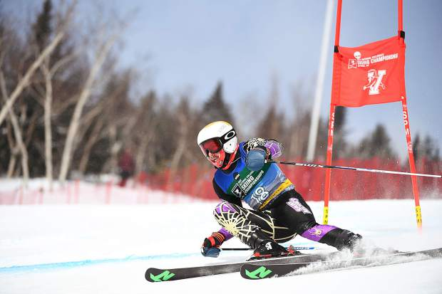 Aspen's Ben Throm, of Saint Michael's College, competes during the men's giant slalom race during at the NCAA skiing championships, held at the Trapp Family Lodge on March 7, 2019, in Stowe, Vermont.