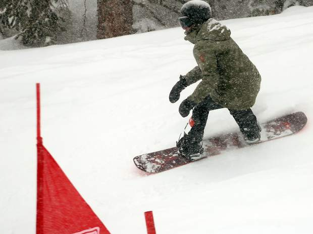 Boulder's Genevieve Lillis competes in the banked slalom on Sunday, March 24, 2019, at Snowmass Ski Area. (Photo by Austin Colbert/The Aspen Times).