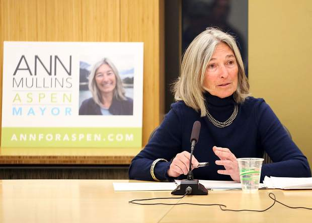 Mayoral candidate Ann Mullins talks at Squirm Night on Thursday, March 21, 2019, at Aspen City Hall. (Photo by Austin Colbert/The Aspen Times).