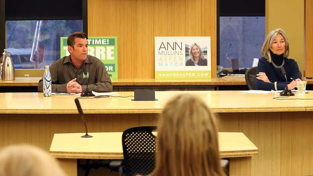 Mayoral candidates Torre, left, and Ann Mullins talk at Squirm Night on Thursday, March 21, 2019, at Aspen City Hall. (Photo by Austin Colbert/The Aspen Times).