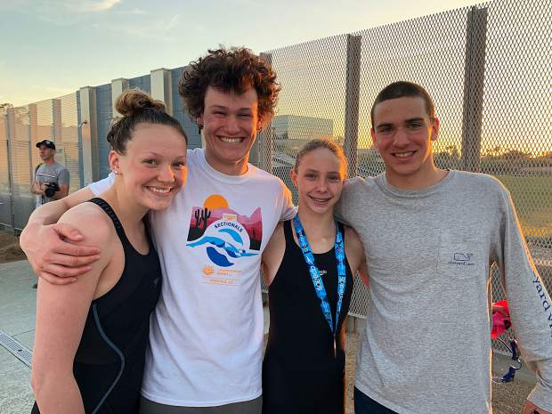 Aspen Swim Club athletes, from left, Davy Brown, Cole Petersen, Lillie Boggs and Shea Card during the 2019 Four Corners Spring Speedos Sectionals meet in Paradise Valley, Arizona, over the weekend.