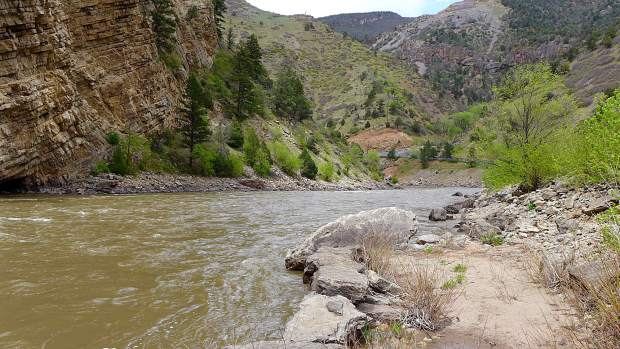 A view looking downriver on the Colorado River at Horseshoe Bend, just east of Glenwood Springs. Colorado Parks and Wildlife has significant concerns about a potential whitewater park at this location due to its use by bighorn sheep and because it is good fish habitat.
