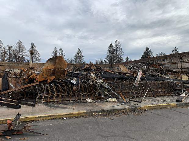 A shell is all that is left of a Safeway supermarket in Paradise, California, after the Camp Fire in November.