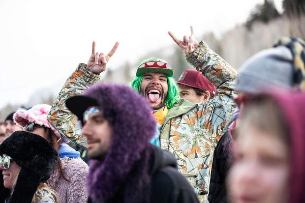 A crowd member at The Apres Festival for The String Cheese Incident on Saturday night.