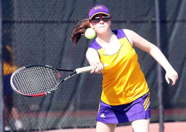 Basalt High School's Mari Elliott competes in a match last season against Aspen. Elliott, now a sophomore, is back as the No. 1 singles player for the BHS girls tennis team.