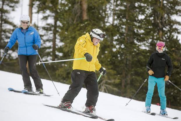Frank Walter, 96, skies with help from the Breckenridge Outdoor Education Center on Thursday, April 4, at Keystone Resort.