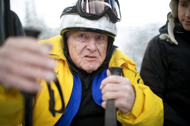 Frank Walter, 96, talks about skiing while riding the River Run Gondola Thursday, April 4, at Keystone Resort.