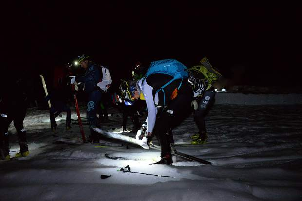 Grand Traverse ski mountaineering racers transition near Star Pass Saturday morning.