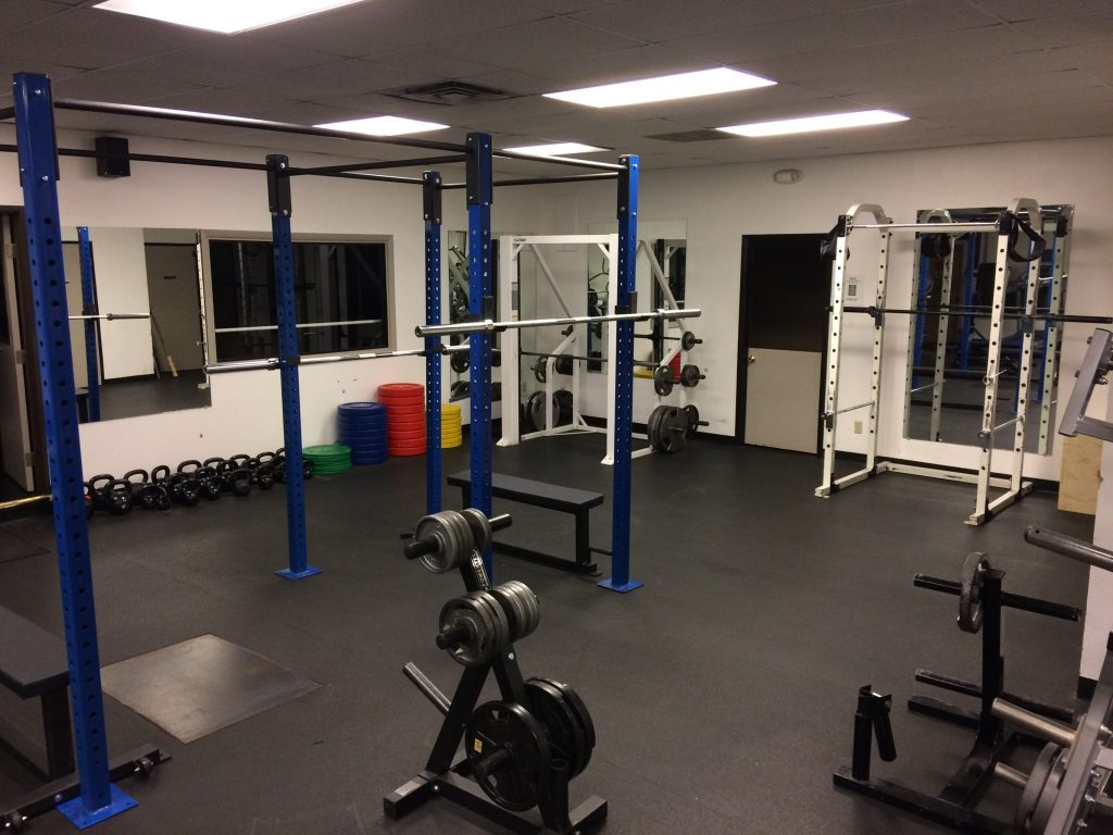 The free weights and barbell area.
