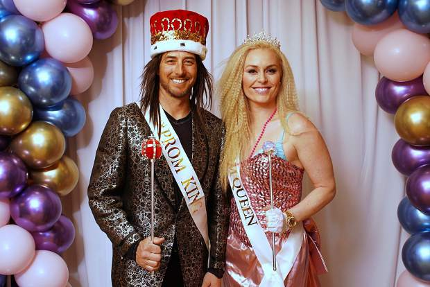 At the Lindsey Vonn Foundation Big Hair Prom Affair fundraiser at the Four Seasons Vail, Jonny Moseley helped Lindsey Vonn raise money for her foundation that helps girls across the country pursue their dreams.