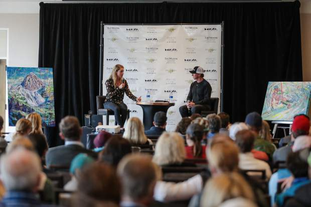 Mikaela Shiffrin answers questions by Chris Anthony during a question and answer with Shiffrin Sunday at the Westin in Avon. Shiffrin talked about her historic ski season and what it takes to compete at that level.