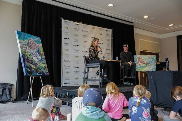 Chris Anthony mediates a question and answer with hometown ski super-start Mikaela Shiffrin Sunday at the Westin in Avon. Kids were able to sit up front and ask Shiffrin questions.